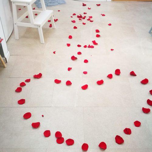 Sol Coeur pétales rose spa reims